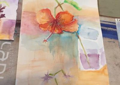 student hibiscus painting