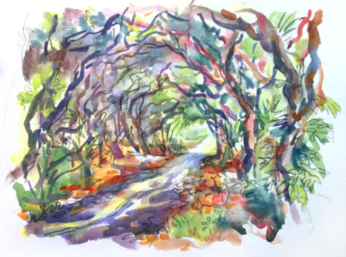 Red Road #3 watercolor painting