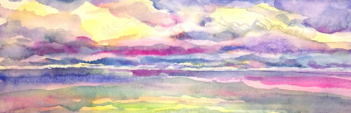 Dusk watercolor painting