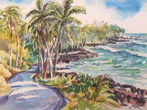 Opihikao road watercolor