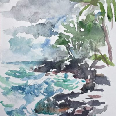 Loose coastline watercolor