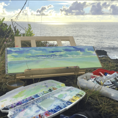 watercolor in front of ocean
