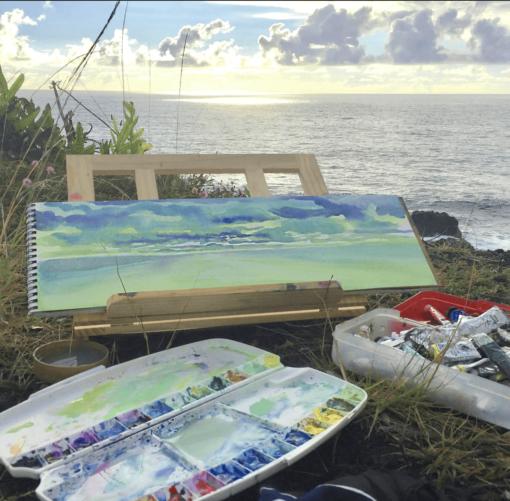 watercolor in front of ocean