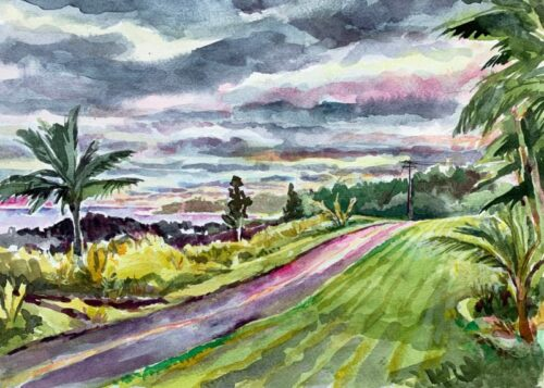 View from Seaview Lawn watercolor