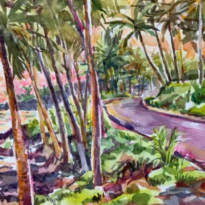 Sunset in Opihikao watercolor
