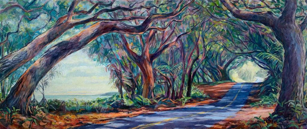 Mau lālā he Nui, 20″ x 48″, oil on canvas